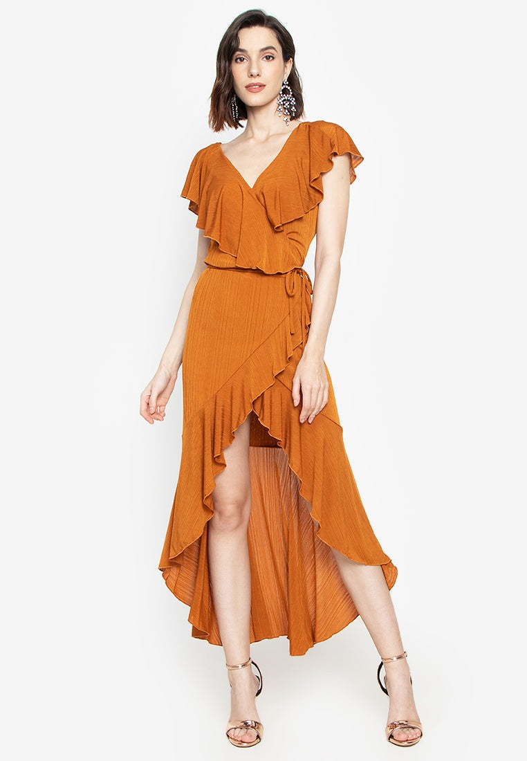 Arya Ruffle Wrap Maxi Dress in Tangerine