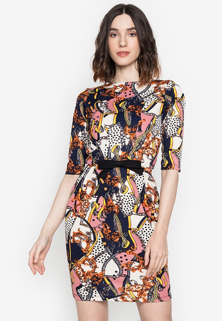 Audrey Boat Neck Quarter Sleeve Dress with Pockets