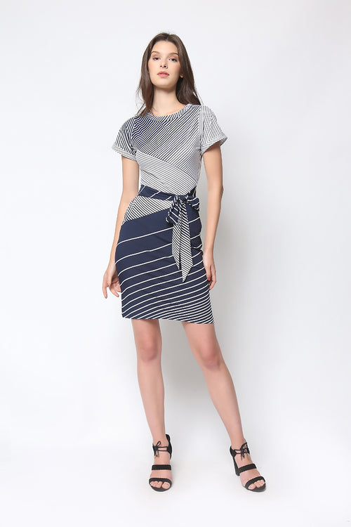 Brooklyn Dress in Navy Stripe