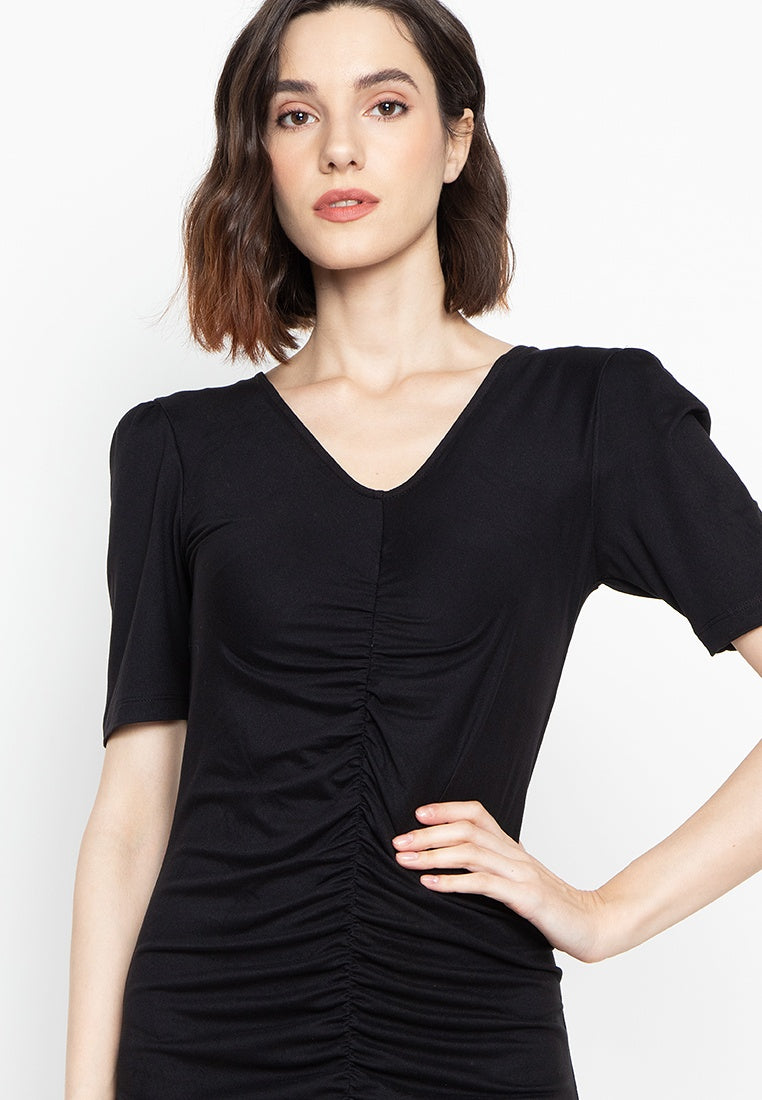 Dana V Neck Shirred Dress with Short Sleeve and Ruffled Hem in Black