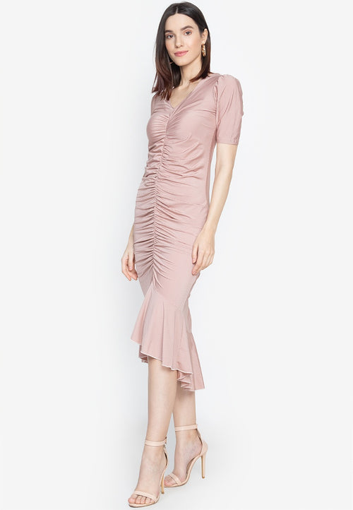 Dana V Neck Shirred Dress with Short Sleeve and Ruffled Hem in Pink
