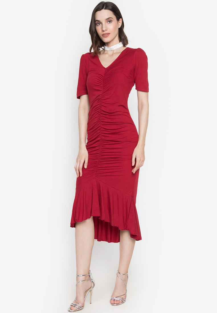 Dana V Neck Shirred Dress with Short Sleeve and Ruffled Hem in Red