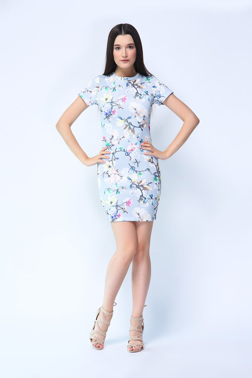 Florentina Dress in Gray Floral Print
