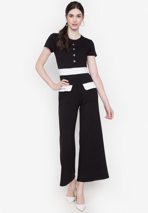 Jemma Round Neck Short Sleeve Office Jumpsuit with Pockets