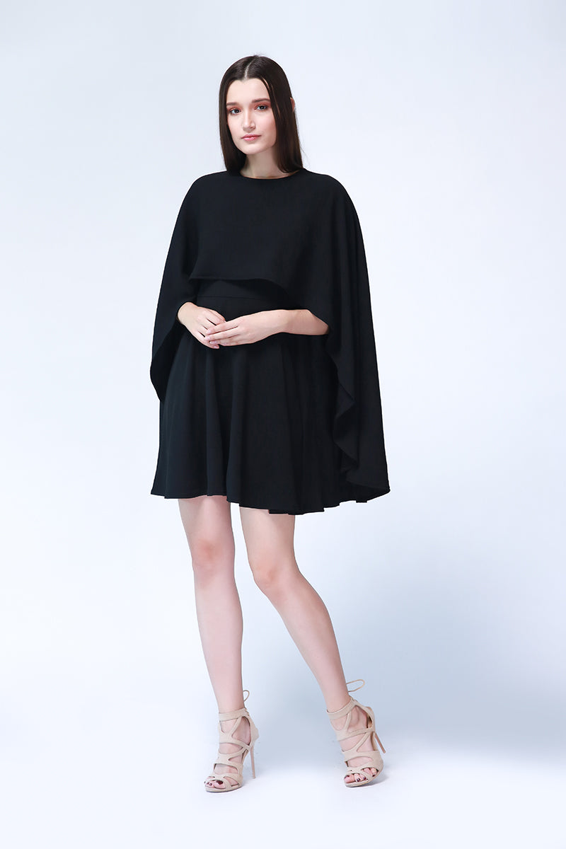 Margaret Cape Dress in Black