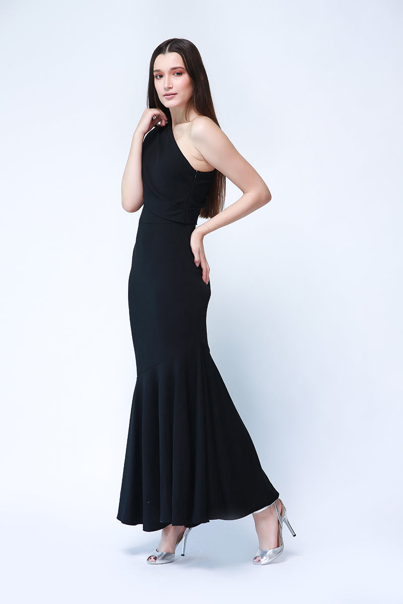 Marian One Shoulder Formal Gown In Black