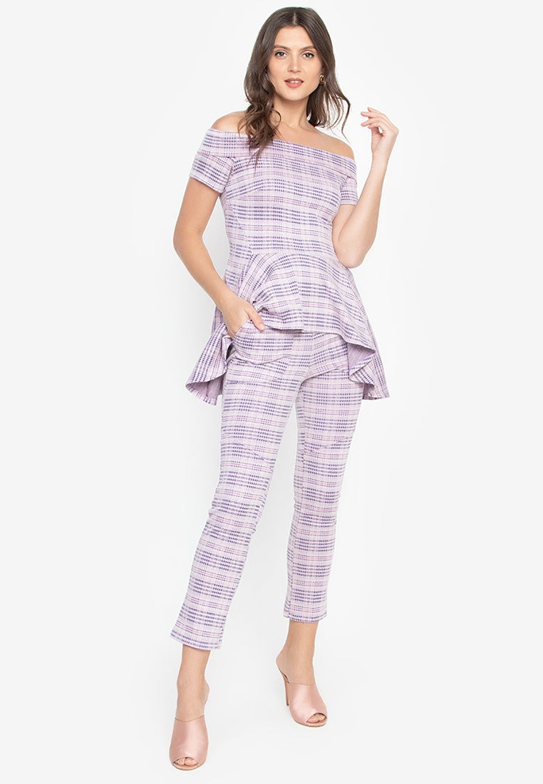 Malena Peplum Top with Slim Pants Set in Pink Plaid