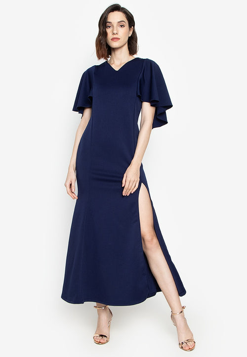 Nova V - Neck Cape Formal Gown with Side Slit in Navy Blue