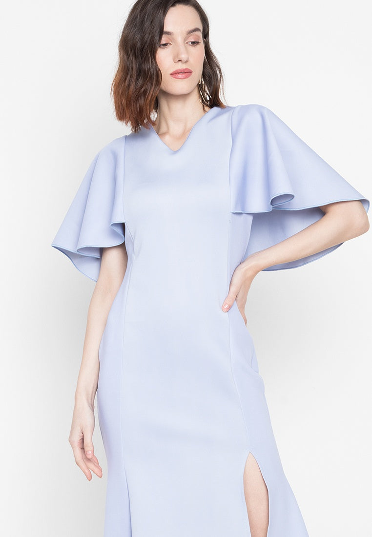 Nova V - Neck Cape Formal Gown with Side Slit in Powder Blue