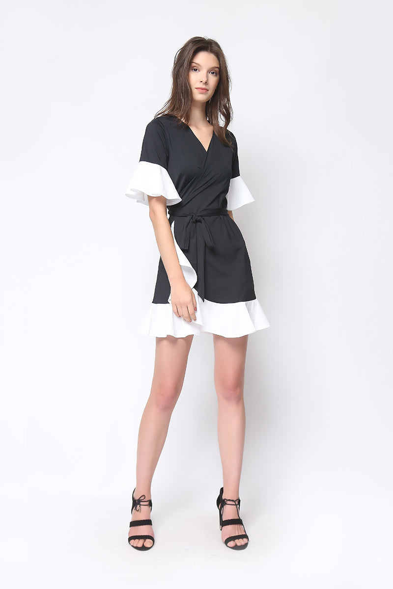 Paris Wrap Dress in Black and White