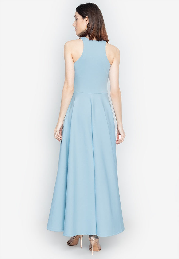 Parisienne Halter Formal Gown in Ice Blue