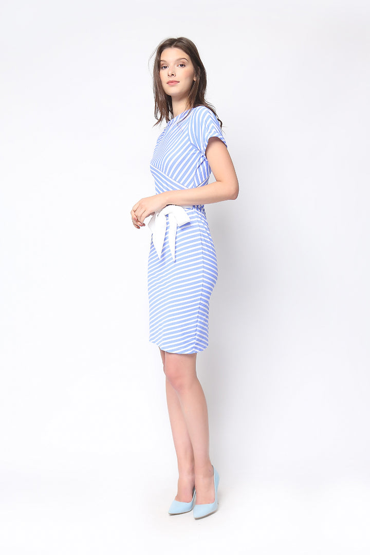 Brooklyn Dress in Powder Blue Stripe