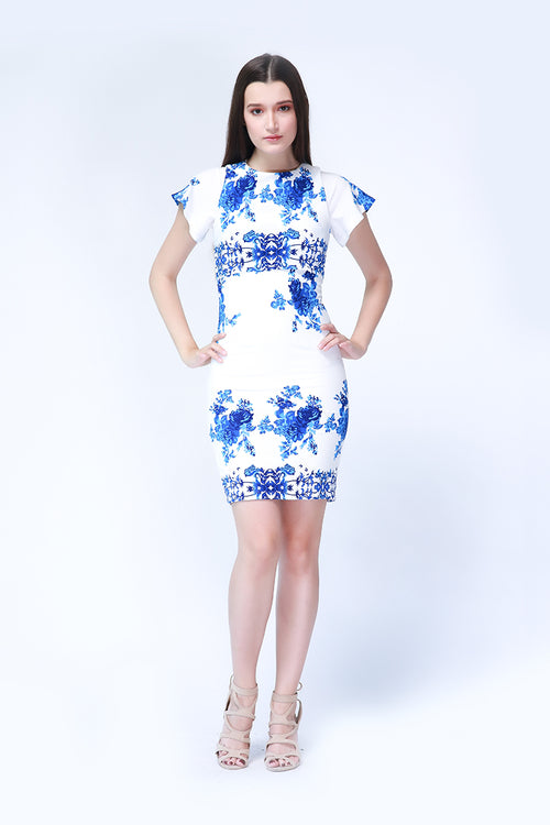 Reign Dress in Ivory and Blue Print