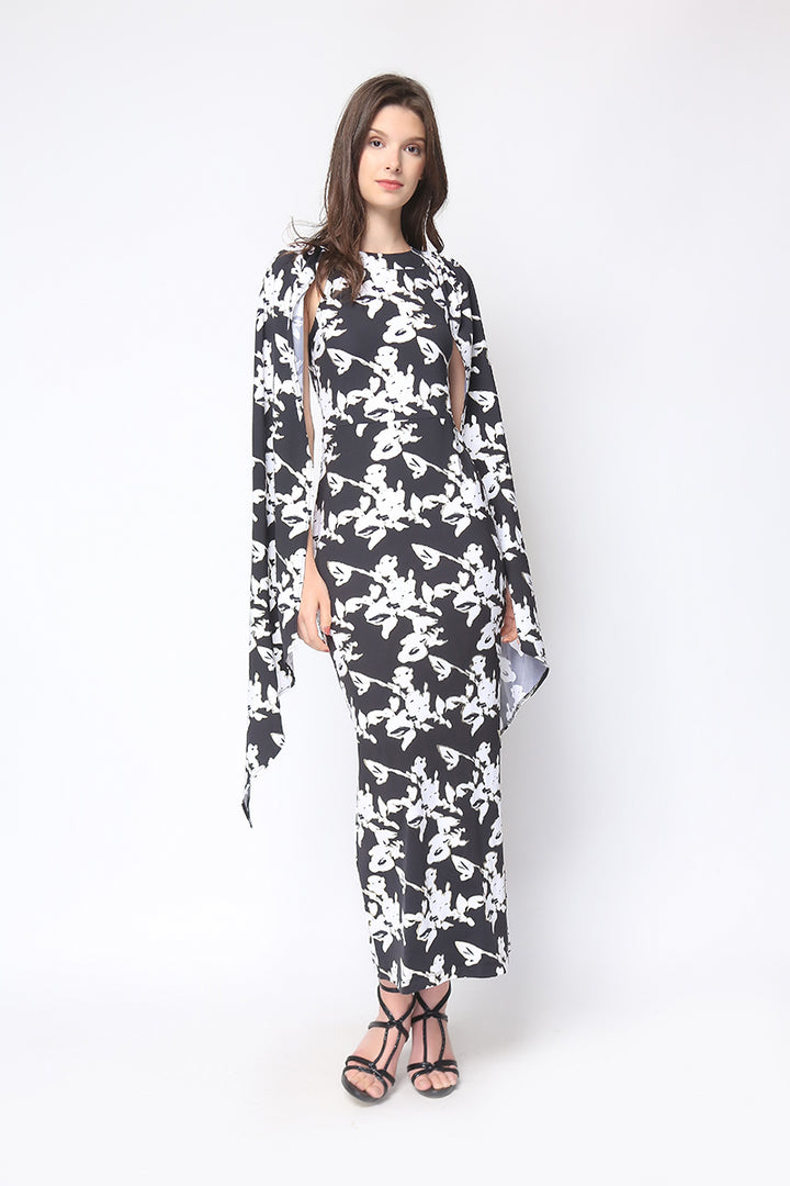 Sansa Gown in Black Floral Print