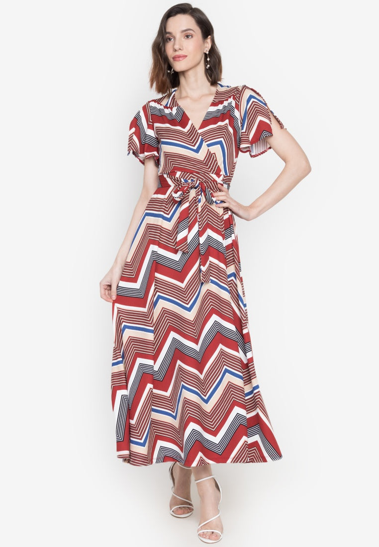 Sunny V-neck Wrap Maxi Dress in Multi Print