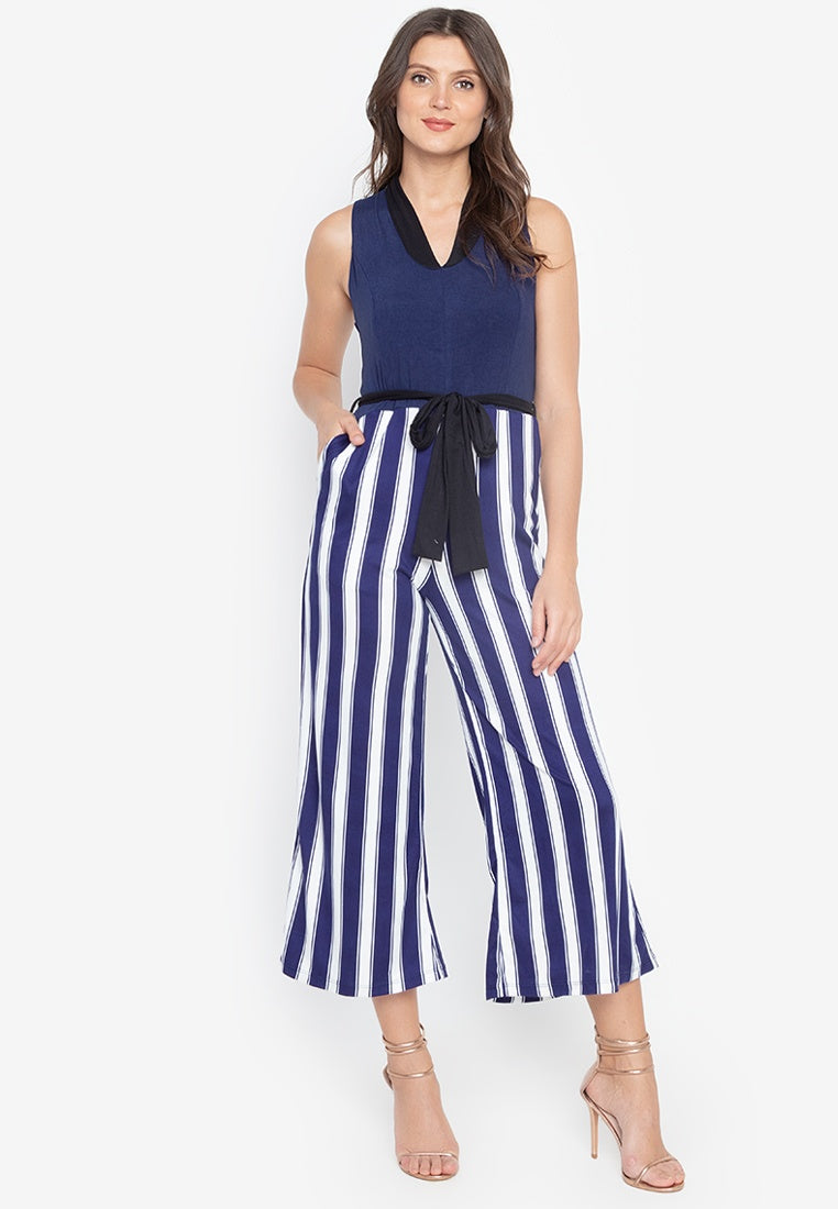Tasha Belted Sleeveless Jumpsuit with Pockets in Navy Stripe