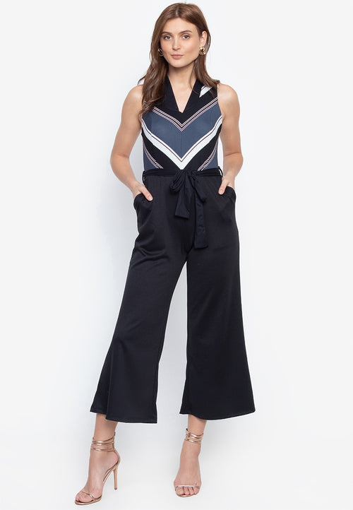 Tasha Belted Sleeveless Jumpsuit with Pockets in Black