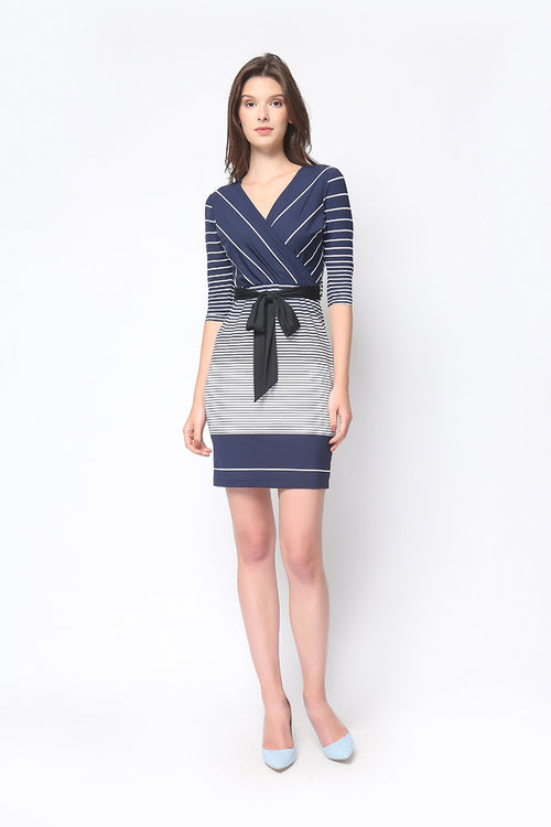 Tilda Dress in Navy Stripe