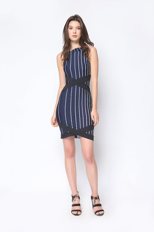 Zia Dress In Navy Blue Stripe