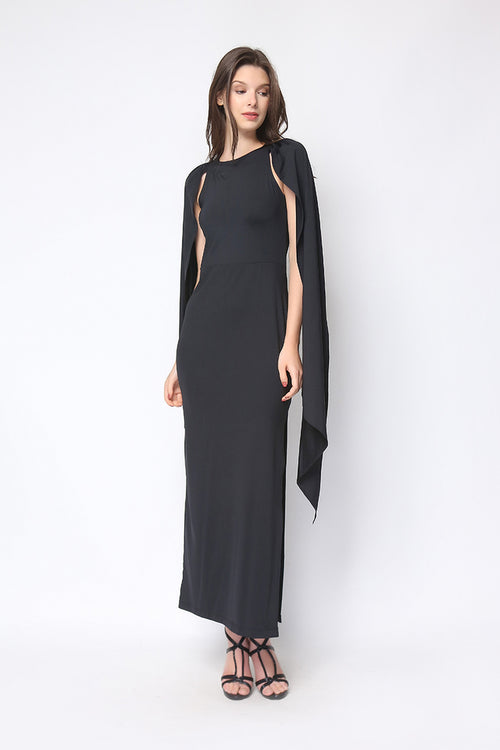 Sansa Cape Gown in Black