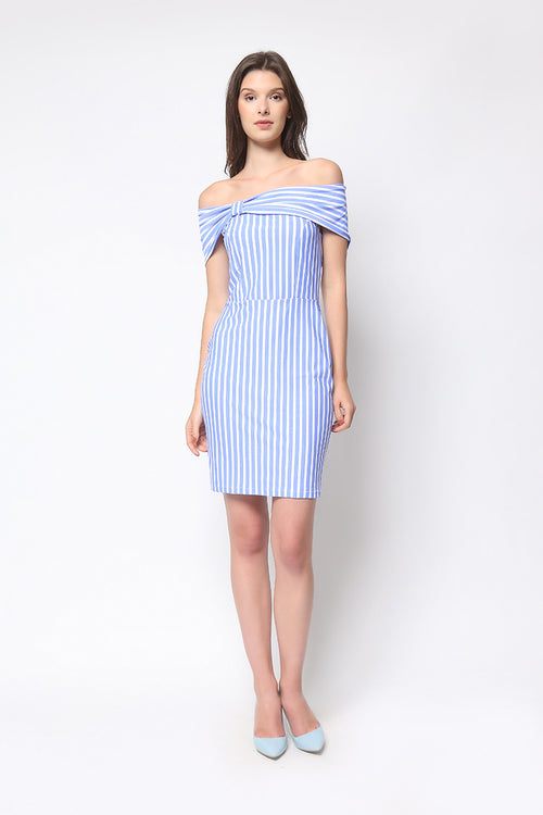 Donatella Dress in Powder Blue Stripe