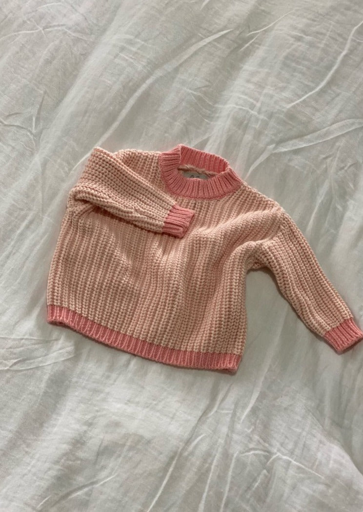 Contrast Knit Pullover - Pale Pink