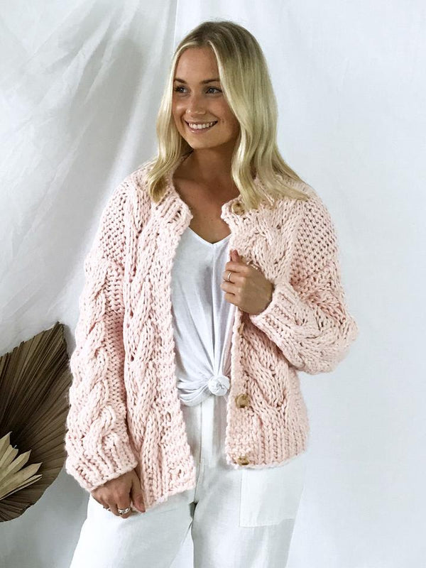 Claude Hand Knitted Cardi - Blush