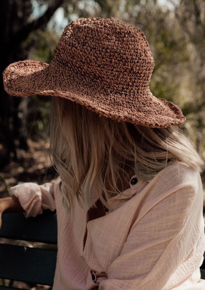 Polly Short Brim Hemp Hat - Peony