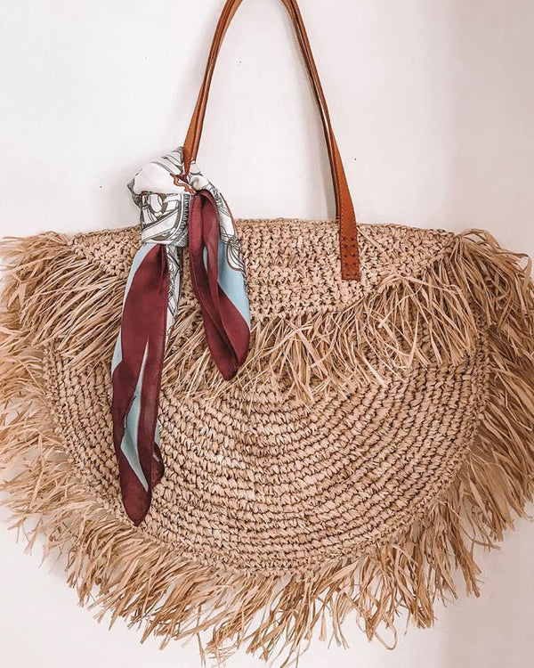 Fringed Raffia Bag