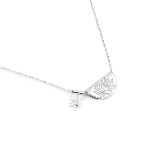 Silver Lotus and Little Buddha Short Necklace