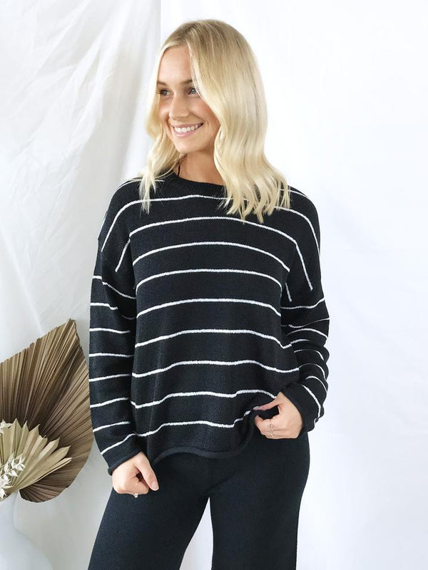 Audrey Stripe Knit - Black