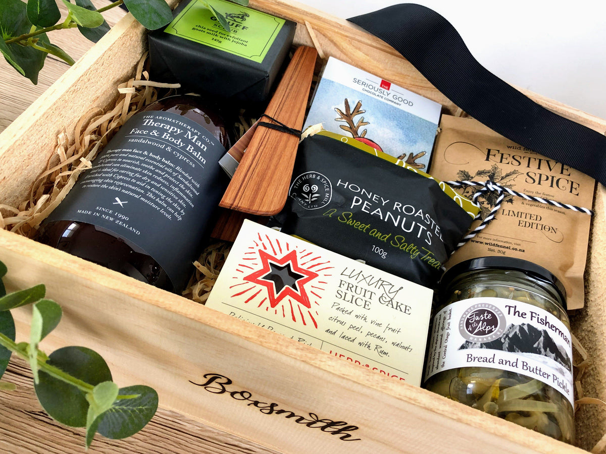 Boxsmith NZ - Merry Christmas to Him - Aromatherapy for Men - Taste of the Alps - Luxury Fruit Loaf - Native Rimu Tongs - Seriously Good Chcolate - Roasted Honey Peanuts - Easy delivery NZ wide