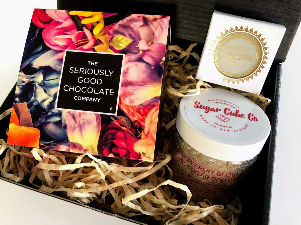 Boxsmith Gift Boxes - The gift for her to ask Will you be my. A modern gift box filled with delicious Seriously Good Chocolate, soothing organic sugar scrub, luxurious lip balm. Easy Delivery NZ Wide