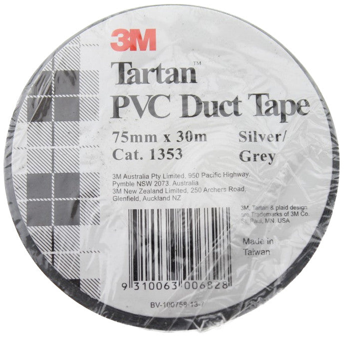 3M Tartan PVC Duct Tape 75mm x 30m Silver / Grey