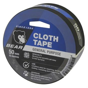 Bear Cloth Tape 15m x 50mm Black
