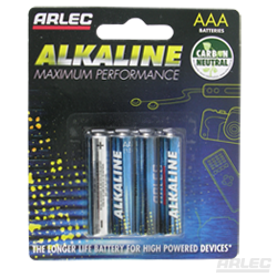 Arlec Alkaline 4 Pack AAA Batteries