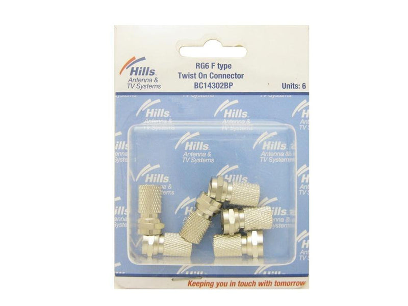 Hills RG6 F Type Twist On Connector Pack of 6