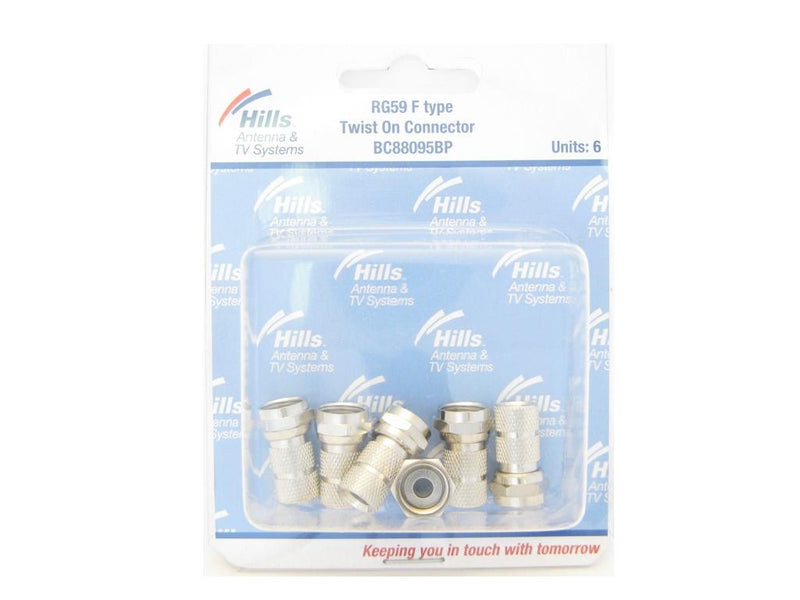 Hills RG59 F Type Twist On Connector Pack of 6