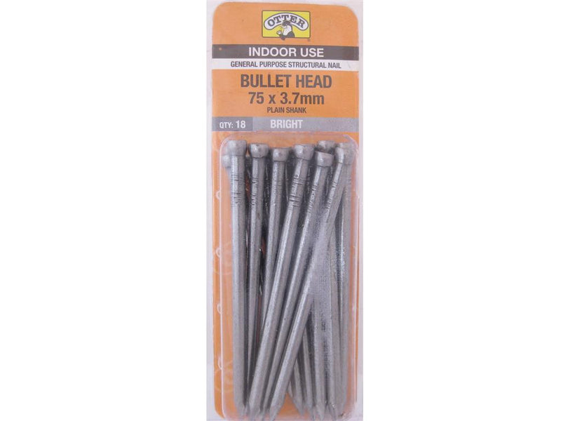 Nail B/H Bright 75mm x 3.7mm Pack of 18