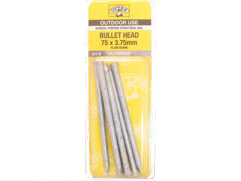 Nail B/H Galv 75mm x 3.75mm Pack of 6