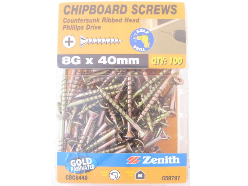 Chipboard Screws 8G x 40mm GP CS Pack of 100
