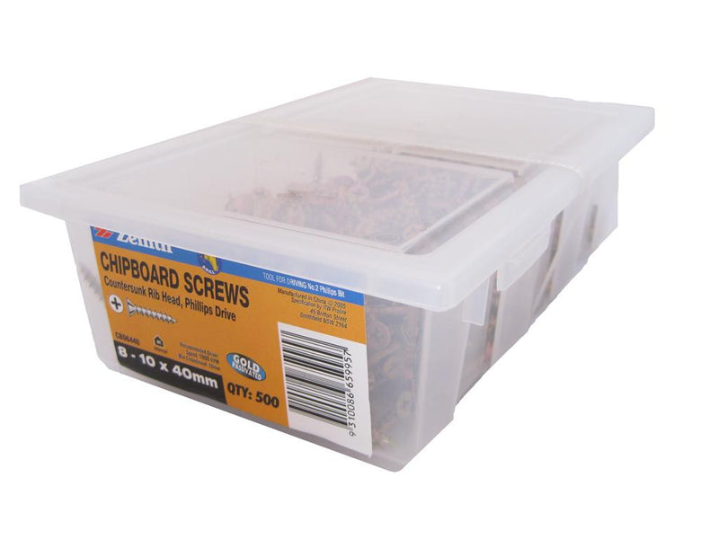 Chipboard Screws 8 - 10 x 40mm GP CS Box of 500