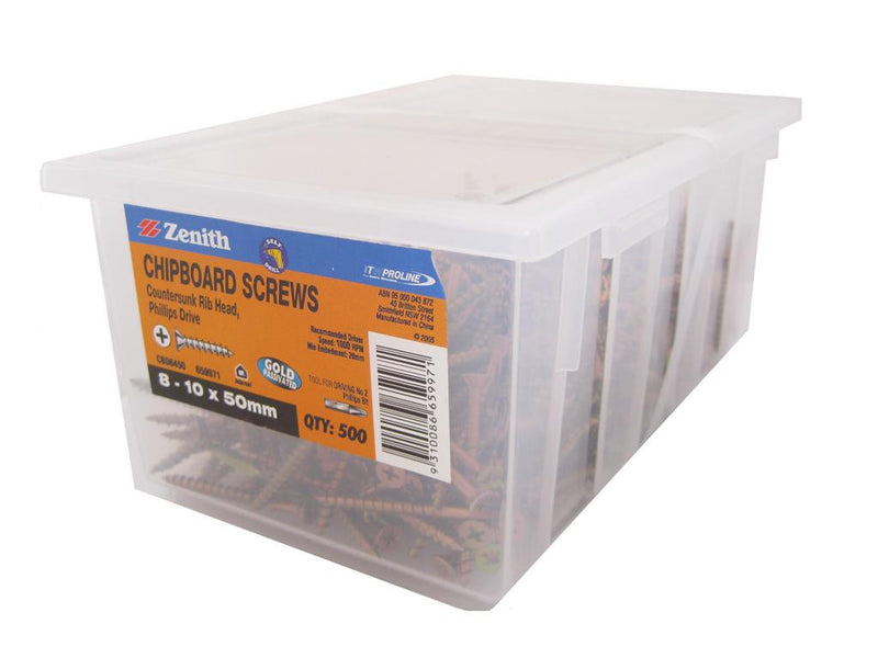 Chipboard Screws 8 - 10 x 50mm GP CS Box of 500