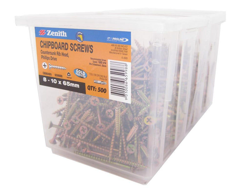 Chipboard Screws 8 - 10 x 65mm GP CS Box of 500