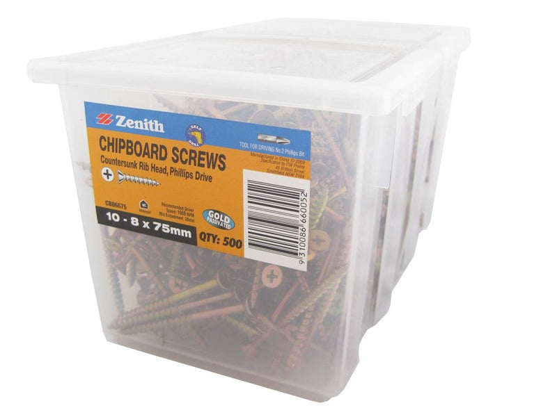 Chipboard Screws 10 - 8 x 75mm GP CS Pk of 500