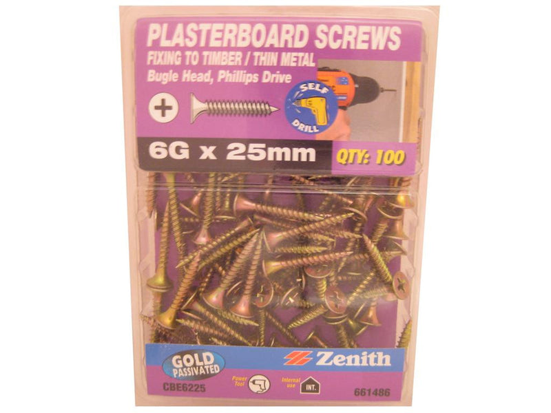 Plasterboard Screws 6G x 25mm CS GP Pk of 100