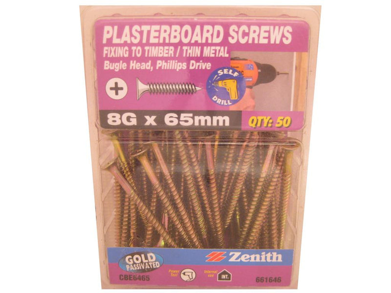 Plasterboard Screws 8G x 65mm CS GP Pk of 50