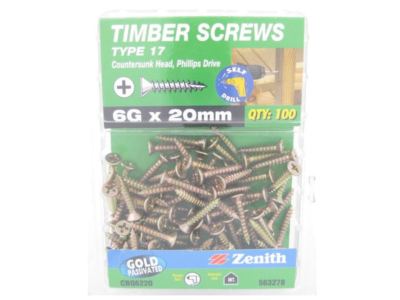 Type 17 Timber Screws 6G x 20mm GP CS Pk 100
