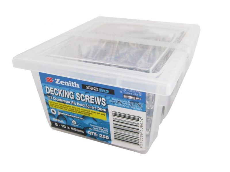 Decking Screws 8G x 45mm SS CS Box of 250