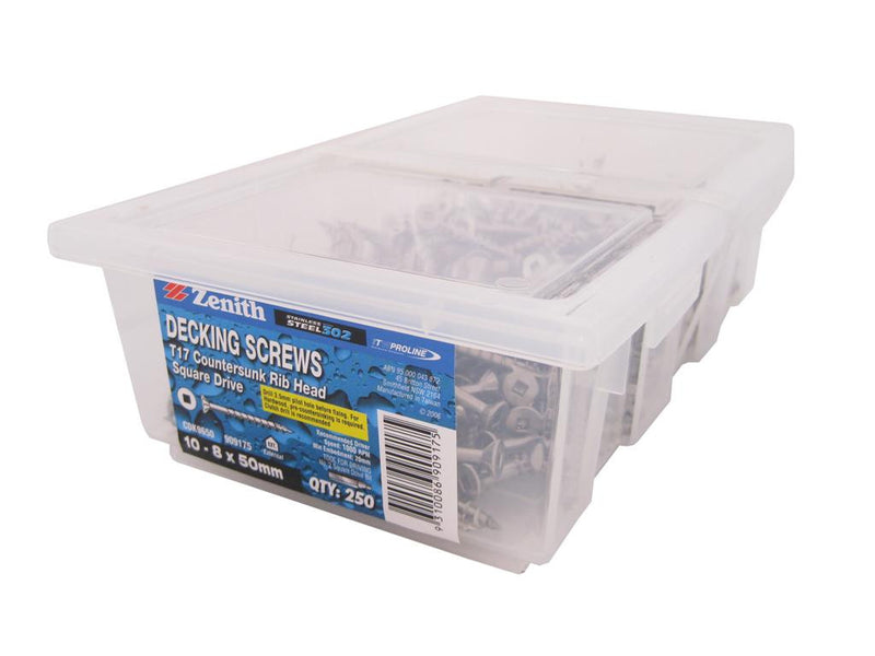 Decking Screws 10G x 50mm SS CS Box of 250